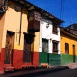 Street in the spanish colonial neighborhood of La Candelaria, Bogota, Colombia.
